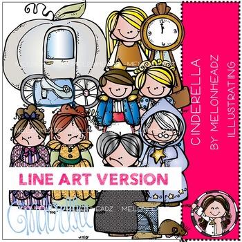 Cinderella clip art - LINE ART- by Melonheadz