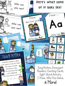 Cinderella Math & Literacy Bundle (10 activities - 170 pages) & FREE GIFT!