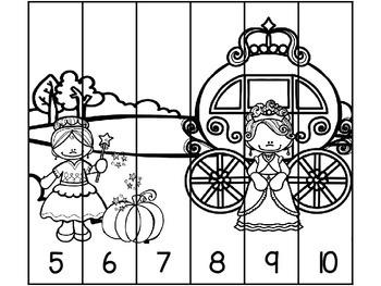 Cinderella Number Order Puzzles {Freebie}