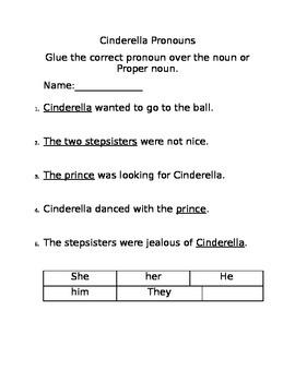 Cinderella Pronoun Cut and Paste