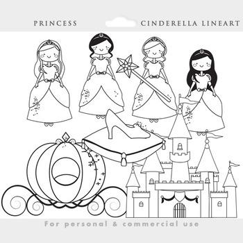 Cinderella clipart - princess clipart, castle, glass slipp