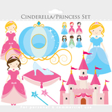 Cinderella clipart - princesses clipart, castle, glass slipper, pumpkin carriage