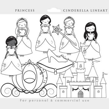 Cinderella princess clipart color and blacklines glass slipper pumpkin carriage