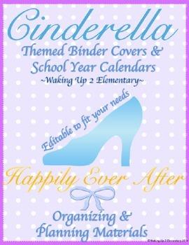 Cinderella-themed Binder Covers & Calendars ~Editable