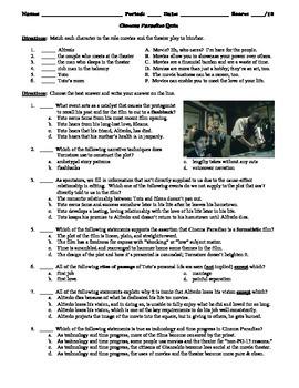 Cinema Paradiso Film (1988) Matching and Multiple Choice Quiz