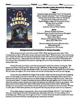 Cinema Paradiso Film (1988) Study Guide Movie Packet