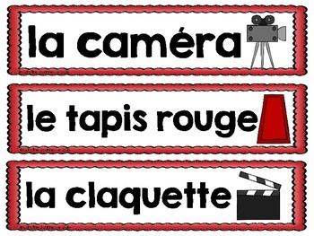 FRENCH Movie Word Wall Cards / Cinéma - Mots-étiquettes (script et cursif)