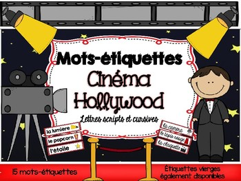FRENCH Movie Word Wall Cards / Cinéma - Mots-étiquettes (s