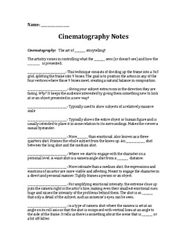 Cinematography Notes