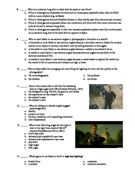 Cinematography or Photography Multiple Choice and Short Answer Test
