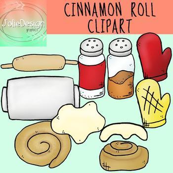 Cinnamon Roll Clip Art - Color and Line Art 20 pc set