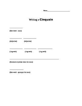 Cinquain Format Worksheet
