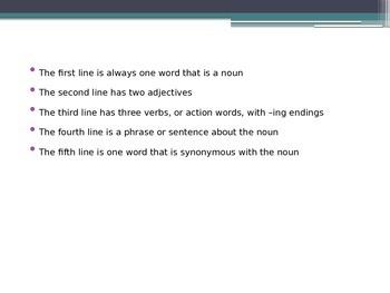 Cinquain Lesson PowerPoint