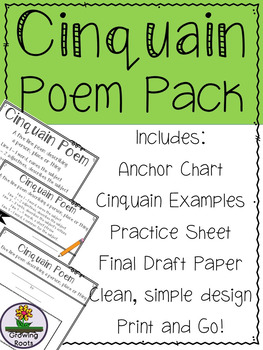 cinquain poem pack anchor chart examples practice page and final