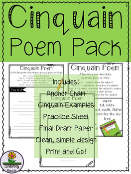 Cinquain Poem Pack - Anchor chart, examples, practice page and final draft paper
