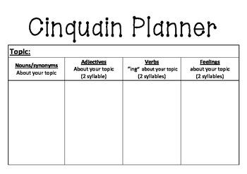 Cinquain Poem planner and assessment task
