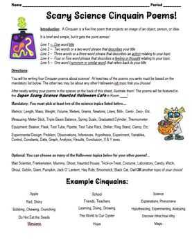 Halloween Science Topics Review Activity for Any Content : Cinquain Poems