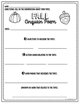 Cinquain Poetry for EVERY season: Craftivities and graphic organizers