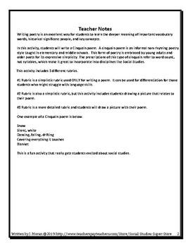 cinquain poem rubric and examples by social studies super store tpt