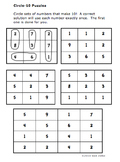 Circle-10 Math Puzzles for Kindergarten and First Grades