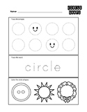 Circle 2-D Shape Worksheet - Trace and Color
