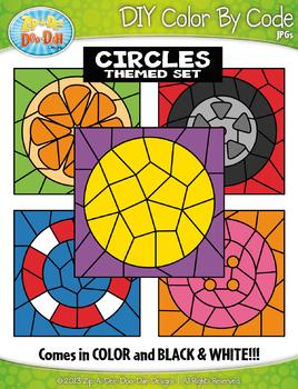 Circle 2D Shapes Color By Code Clipart {Zip-A-Dee-Doo-Dah Designs}
