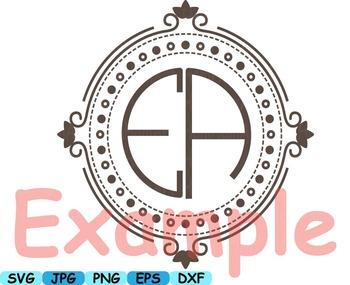 Circle Alphabet Clip Art text cricut letter font frame teacher graphic  -111s