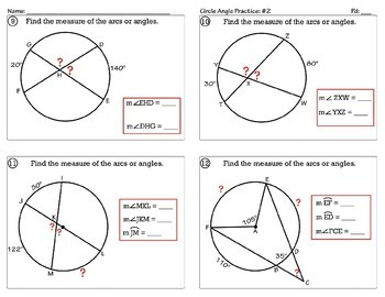 Circle Angle Measures Practice