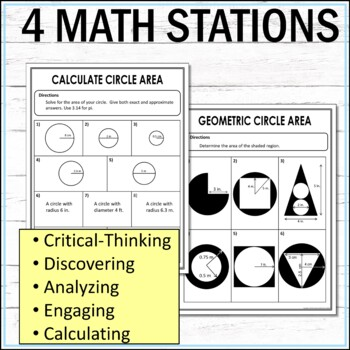 Circle Area Middle School Math Stations