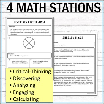 Circle Area Math Stations  :  Middle School Math Stations