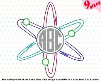 Circle Atom Science Designs for Embroidery Nuclear Fission outline 191b