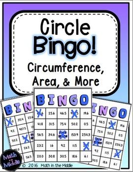 Circles Bingo Math Review Game (Area, Circumference, & More)