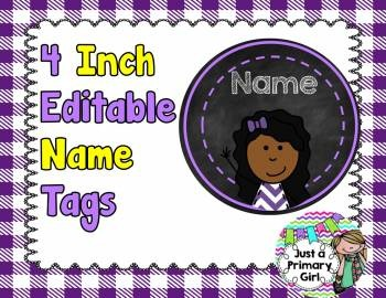 Circle Chalkboard Name Tags with Kid Pictures Editable (wi