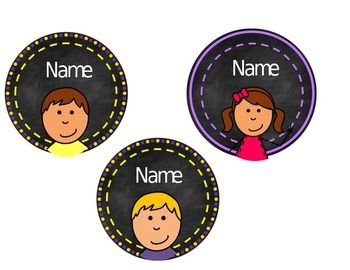 Circle Chalkboard Name Tags with Kid Pictures Editable (with glasses)