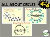 Circle Charts Parts of a circle, circumference formula, and area process charts