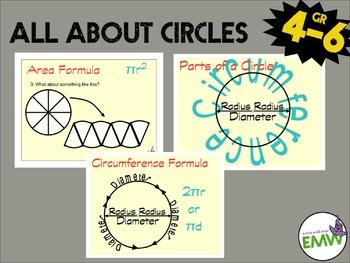 Circle Charts: Parts of a circle, circumference formula, a