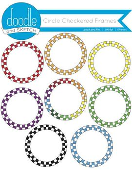 Circle Checkered Frames {Rainbow Variety}