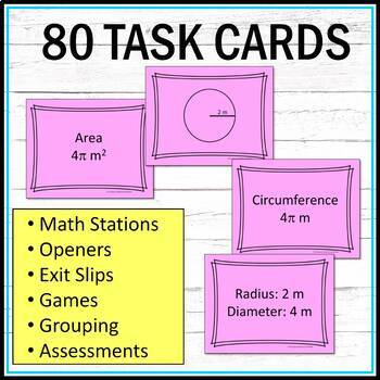 Circle Circumference and Area Task Cards Middle School Math