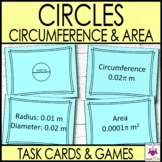 Circumference and Area of Circles Task Cards Activities and Games