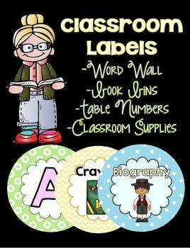 Circle Classroom Labels: Word Wall, Book Bins, Supplies