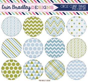 Circle Clipart - Olive and Blue Frames