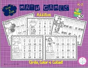 Circle, Color & Collect Math Games-Addition