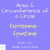 Circle Coloring Activity   Area + Circumference of a Circle