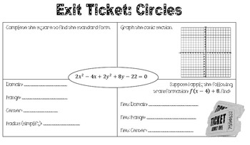 Circle Conic Section Lesson Plan
