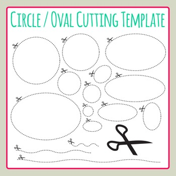 Circle Cutting Oval Scissor Dashed Template Clip Art for Commercial Use