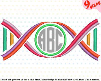 Circle DNA Structure Science Designs for Embroidery  medicals scientific 193b
