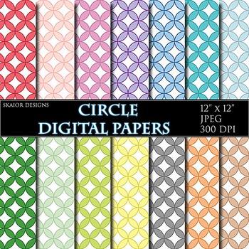 Circle Digital Papers Round Geometric Scrapbook Printable Pink Green Red Blue