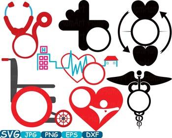 Circle Doctor Medic Nurse hospital medicine biology Medicals tools Clip Art 235s