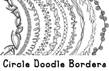 Circle Doodle Borders Clip Art PNG JPG Blackline Commercial Personal