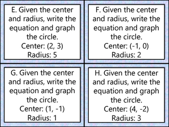 Circle Equation Task Cards